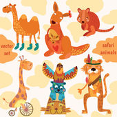 Safari animals:Quokka, tiger, camel, giraffe, kangaroo — Vector de stock