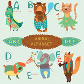 Very cute alphabet.A, b, c, d, e, f letters. — Stock Vector