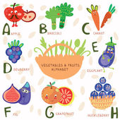 Very cute alphabet  of fruit and vegetables. — Stock vektor