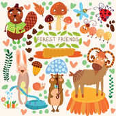 Vector Set of Cute Woodland and Forest Animals.Gopher,beaver, go — Vecteur