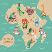 African animals set: — Vector de stock