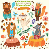 Vector Set of Cute Woodland and Forest Animals. Bear, hedgehog,  — Stockvector