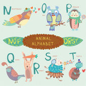 Very cute alphabet. N, o, p, q, r, s, t letters. — Stock Vector