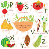 Very cute alphabet of fruit and vegetables. — Stock Vector