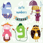 Vector set-cute numbers. — Stockvektor