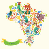 Map of Africa with cute animals in vector. — Cтоковый вектор