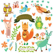 Vector Set of Cute Woodland and Forest Animals.Squirrel,rabbit,  — Stok Vektör