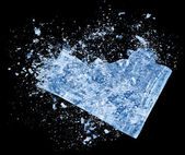 Collision explosion of blue ice on black background — Stock Photo