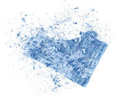 Collision explosion texture of blue ice pieces on white background — Foto Stock