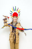 Eight year old child kid in Indian costume — Stock Photo