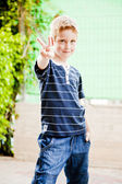 Six Years old Child Kid smiling in the park — Stock Photo