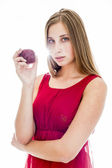 Apple woman ,beautiful ethnic model eating red apple — Stockfoto