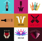 Wine buttons for promo material use, drink menu. — Stock Vector