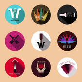 Utilizar botones vinos para material promocional, menú de bebidas. — Vector de stock