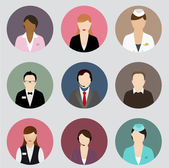 Set of human profile flat icons for mobile and web apps. Simple icons of different types of people professions. — Stock Vector