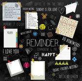 Concept design illustration of reminder wall with different types of reminder notes and papers with messages. — Vector de stock