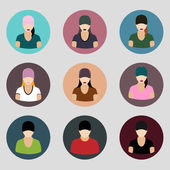 Set of human profile flat icons for mobile and web apps — Stock Vector