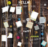 Concept design illustration of reminder wall with different types of reminder notes and papers with messages. — Vecteur