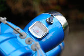 Retro moped cockpit with blurred background — Stock Photo