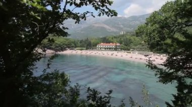 Milocher beach in Montenegro — Stockvideo