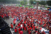 World cup gatan jublande folkmassa i Sydkorea — Stockfoto