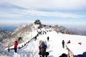 Personas en invierno hermoso paisaje deogyusan mt — Foto de Stock