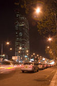 Beautiful night view of buildings and traffic — Stok fotoğraf