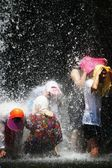 People swim at Surak falls — Photo