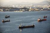 Barges at Ulsan shipyard — Stock Photo