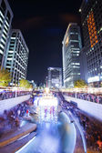 A beautiful night view of Cheonggyecheon Seoul — Stock Photo