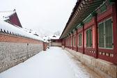 Pałac gyeongbokgung w zimie — Zdjęcie stockowe