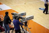 Operators filmed basketball game — Stock Photo
