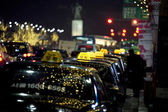 Taxi on the streets of  night Seoul — Stock Photo