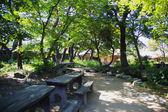 Panchine in giardino — Foto Stock