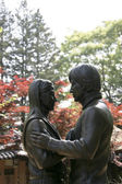 Sculpture commemorating the heroes of the series Winter Sonata — Stock Photo