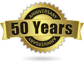 """""""50 Years Anniversary"""" - golden stamp with ribbon, Vector EPS 10 — Stock Vector"""