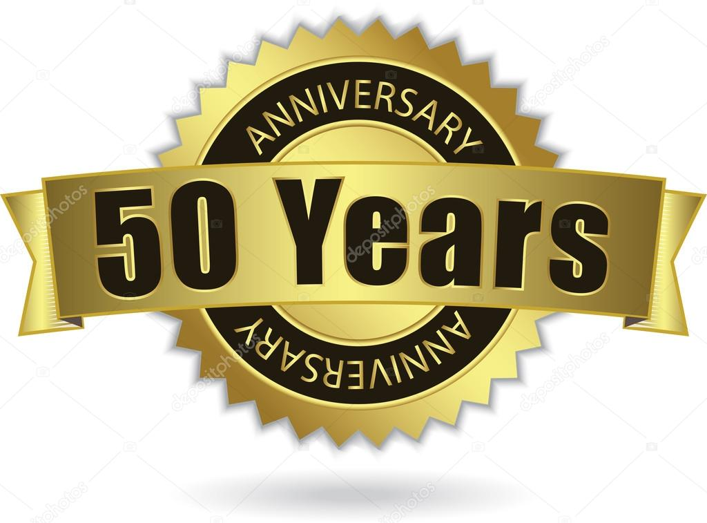 50 years anniversary quot golden stamp with ribbon vector eps 10