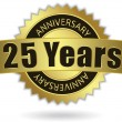 """25 Years Anniversary"" - golden stamp with ribbon, Vector EPS 10 — Stockvector"
