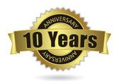 """10 Years Anniversary"" - golden stamp with ribbon, Vector EPS 10 — Cтоковый вектор"