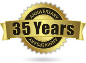 """""""35 Years Anniversary"""" - golden stamp with ribbon, Vector EPS 10 — Stock Vector"""