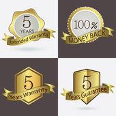 5 years Warranty, Extended Warranty, Guarantee, 100 percent Cash Back — Stock Vector