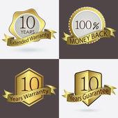10 years Warranty, Extended Warranty, Guarantee, 100 percent Cash Back — Stock Vector