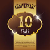 """10 Year Anniversary"" - Elegant Golden Design Template , Background , Seal — Stock Vector"