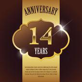 """14 Year Anniversary"" - Elegant Golden Design Template , Background , Seal — Stock Vector"