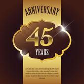"""45 Year Anniversary"" - Elegant Golden Design Template , Background , Seal — Stock Vector"