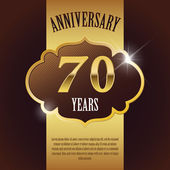 """70 Year Anniversary"" - Elegant Golden Design Template , Background , Seal — Stock Vector"