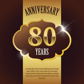 """80 Year Anniversary"" - Elegant Golden Design Template , Background , Seal — Stock Vector"