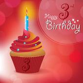 Happy 3rd Birthday greeting, invitation, message — Stock Vector