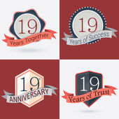 19th Anniversary , 19 years together , 19 years of Success , 19 years of trust - Set of Retro vector Stamps and Seal — Stock Vector