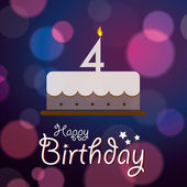 Happy 4th Birthday - Bokeh Vector Background with cake. — Stock Vector